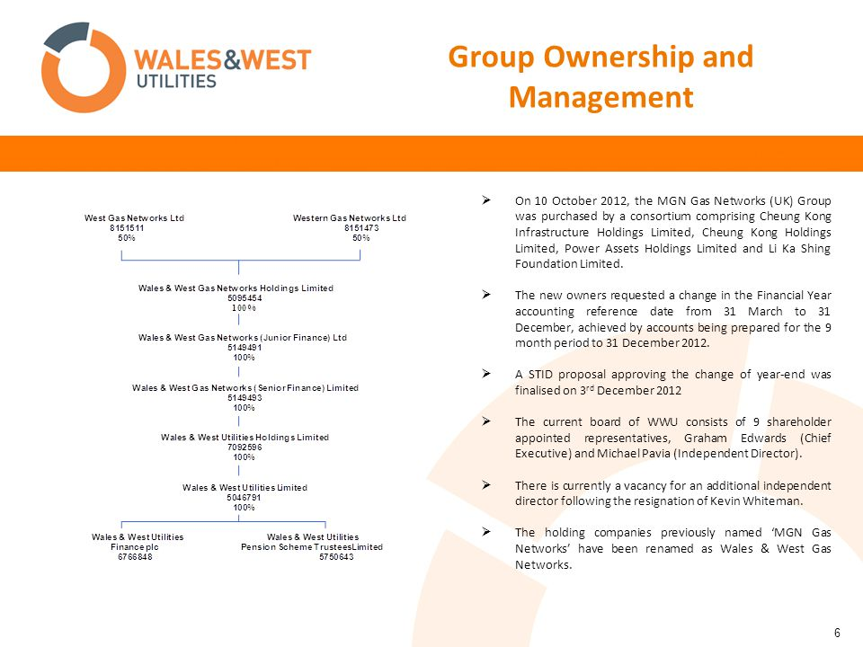 6 Group Ownership and Management  On 10 October 2012, the MGN Gas Networks (UK) Group was purchased by a consortium comprising Cheung Kong Infrastructure Holdings Limited, Cheung Kong Holdings Limited, Power Assets Holdings Limited and Li Ka Shing Foundation Limited.