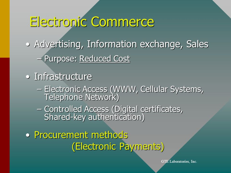Electronic Commerce Advertising, Information exchange, SalesAdvertising, Information exchange, Sales –Purpose: Reduced Cost InfrastructureInfrastructure –Electronic Access (WWW, Cellular Systems, Telephone Network) –Controlled Access (Digital certificates, Shared-key authentication) Procurement methods (Electronic Payments)Procurement methods (Electronic Payments)