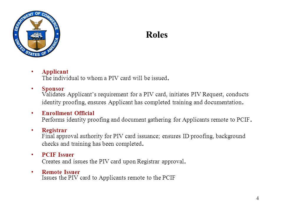 4 Roles Applicant The individual to whom a PIV card will be issued.