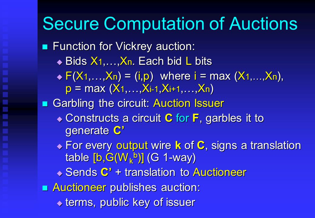 Secure Computation of Auctions Function for Vickrey auction: Function for Vickrey auction:  Bids X 1,…,X n.