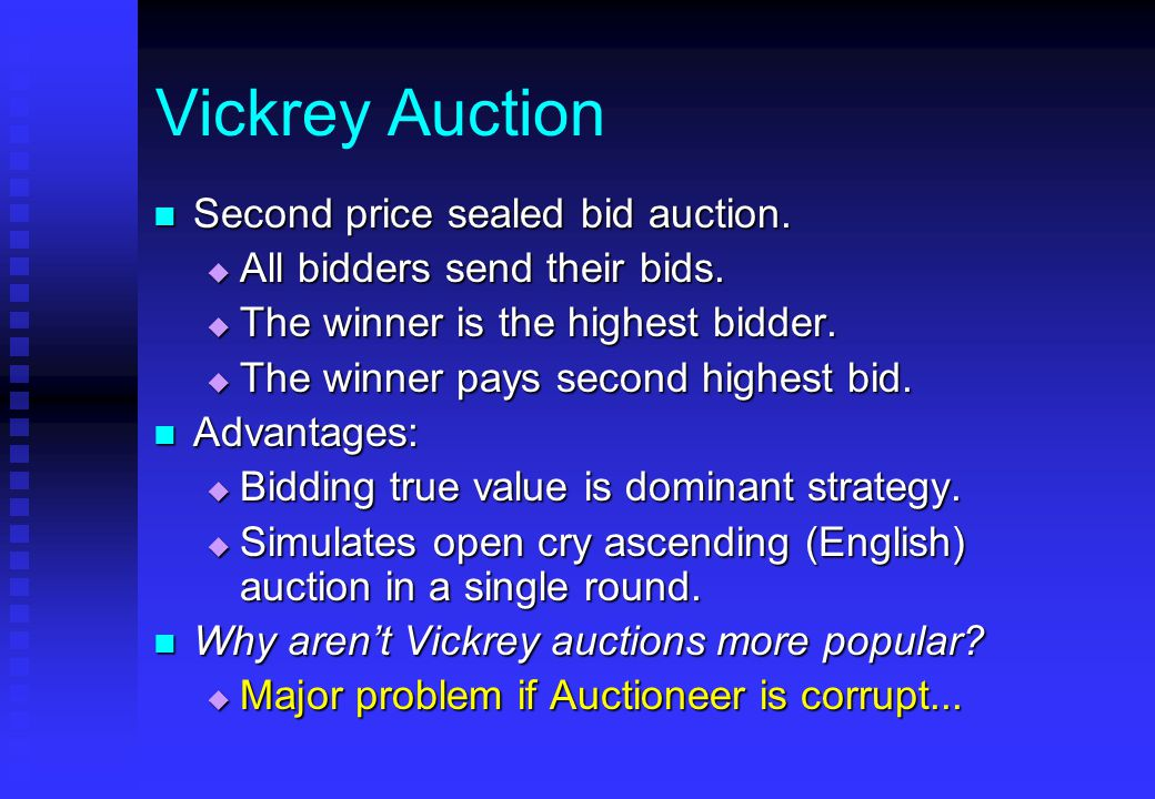 Vickrey Auction Second price sealed bid auction. Second price sealed bid auction.