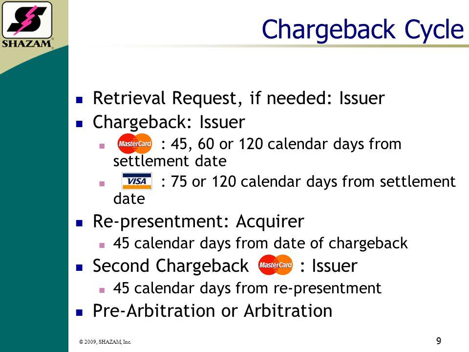 © 2009, SHAZAM, Inc. 8 Retrieval Time Frames Acquirer/merchant retain copies of sales drafts/tickets for: 12 months (Visa) 18 months (MC) Acquirer/mer
