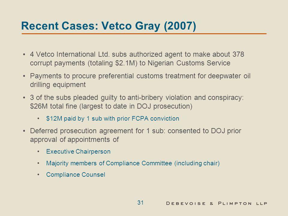 31 Recent Cases: Vetco Gray (2007) 4 Vetco International Ltd.