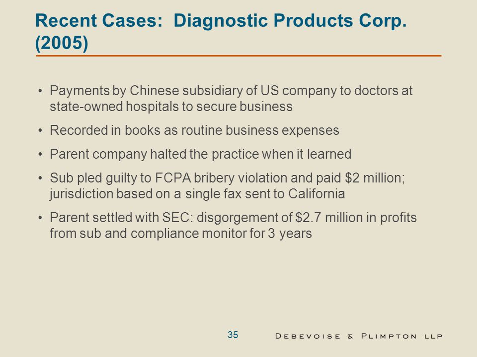 35 Recent Cases: Diagnostic Products Corp.