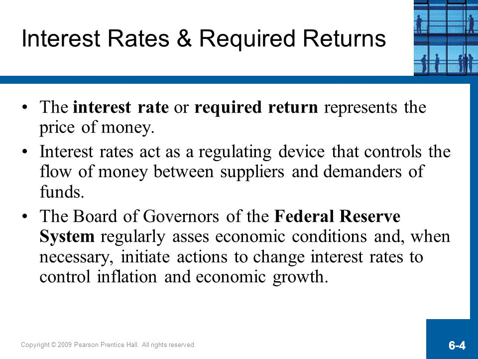 Copyright © 2009 Pearson Prentice Hall. All rights reserved. 6-4 Interest Rates & Required Returns The interest rate or required return represents the