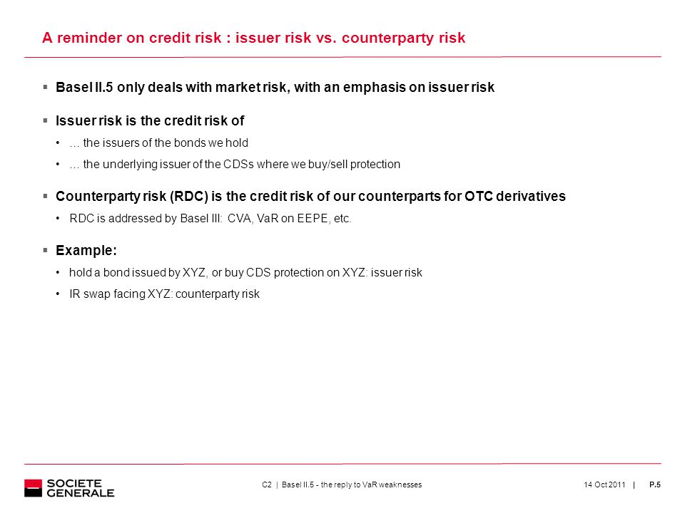 | P.5  Basel II.5 only deals with market risk, with an emphasis on issuer risk  Issuer risk is the credit risk of … the issuers of the bonds we hold … the underlying issuer of the CDSs where we buy/sell protection  Counterparty risk (RDC) is the credit risk of our counterparts for OTC derivatives RDC is addressed by Basel III: CVA, VaR on EEPE, etc.