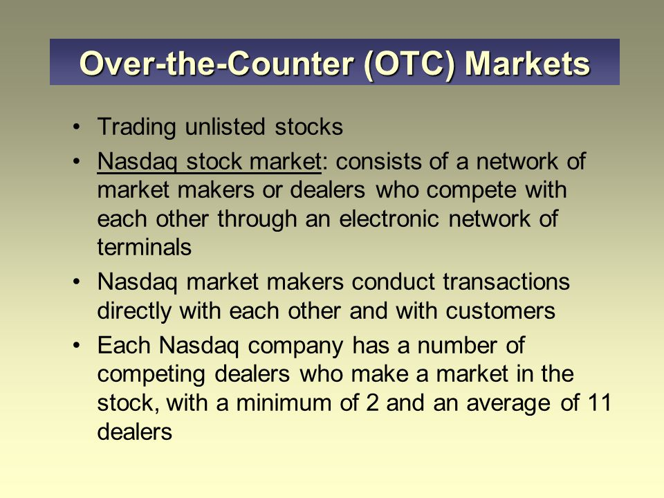 Trading unlisted stocks Nasdaq stock market: consists of a network of market makers or dealers who compete with each other through an electronic netwo