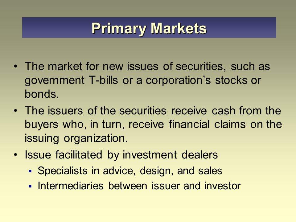 The issuing company sell the securities to the financing group (also known as managing underwriters or syndicate managers) which consists of one or two firms The financing group sells the securities to the marketing group at a draw down price The securities are distributed for sale to the public Underwriting Process