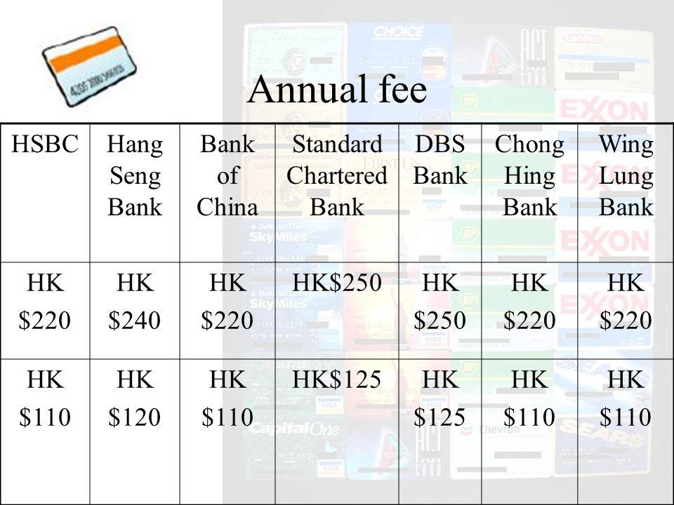 HSBCHang Seng Bank Bank of China Standard Chartered Bank DBS Bank Chong Hing Bank Wing Lung Bank HK $220 HK $240 HK $220 HK$250HK $250 HK $220 HK $220 HK $110 HK $120 HK $110 HK$125HK $125 HK $110 HK $110