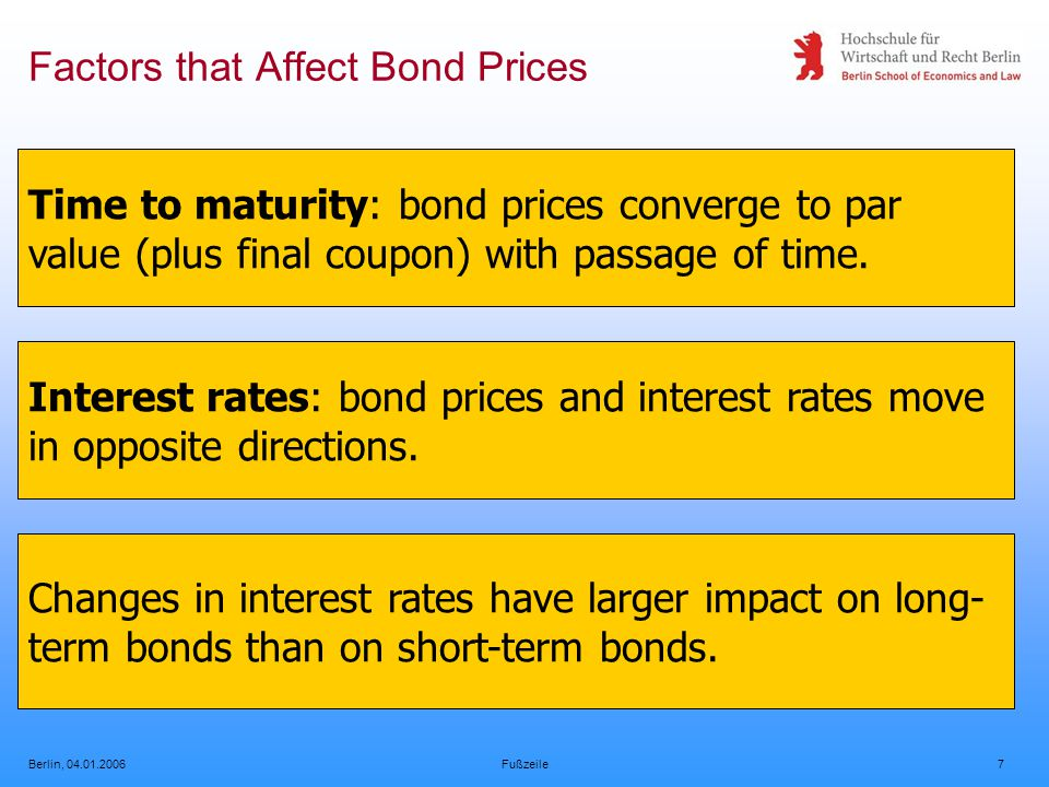 Berlin, 04.01.2006Fußzeile7 Factors that Affect Bond Prices Time to maturity: bond prices converge to par value (plus final coupon) with passage of time.