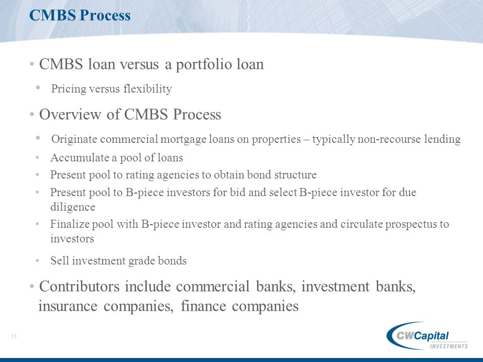 11 CMBS Process CMBS loan versus a portfolio loan Pricing versus flexibility Overview of CMBS Process Originate commercial mortgage loans on properties – typically non-recourse lending Accumulate a pool of loans Present pool to rating agencies to obtain bond structure Present pool to B-piece investors for bid and select B-piece investor for due diligence Finalize pool with B-piece investor and rating agencies and circulate prospectus to investors Sell investment grade bonds Contributors include commercial banks, investment banks, insurance companies, finance companies