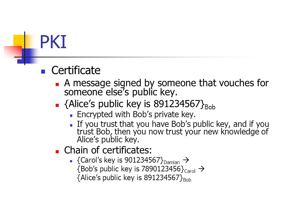 PKI Alice signs a certificate vouching for Bob's name and key: Alice is the Issuer.