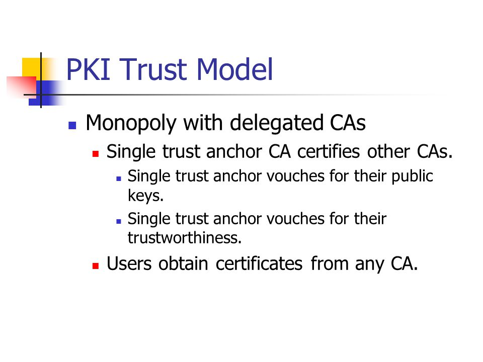 PKI: Certificate Revocation Revocation is necessary Key is stolen.