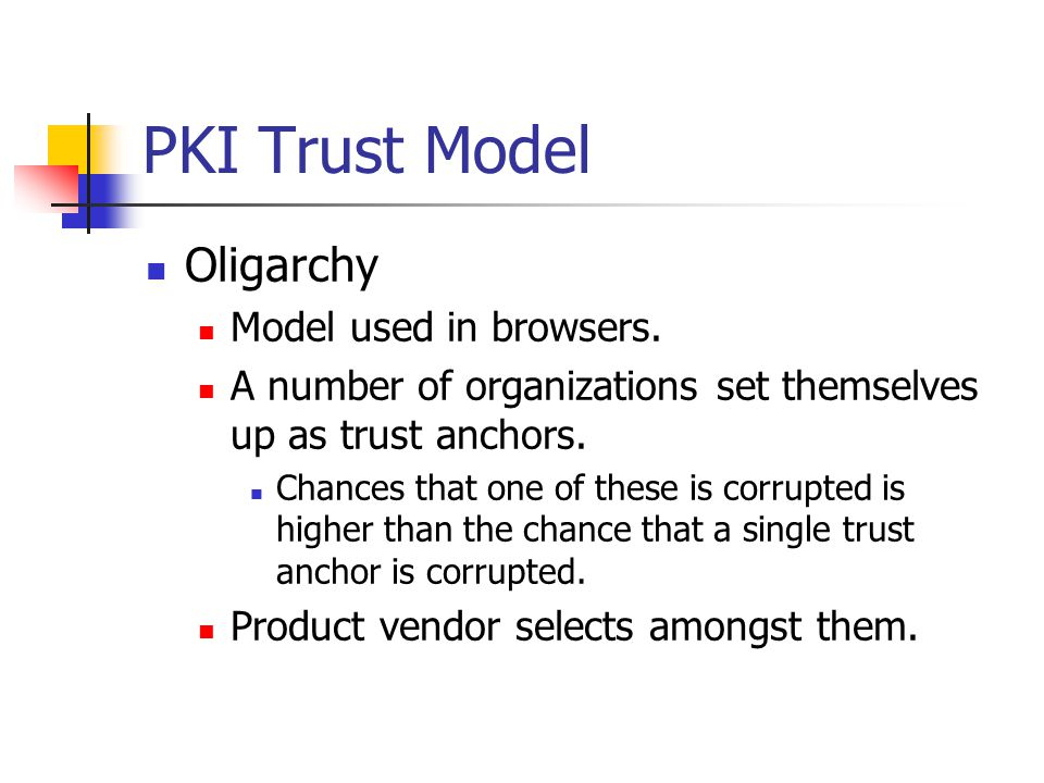 PKI Trust Model Oligarchy Model makes it easier to dupe users into accepting a trust anchor.