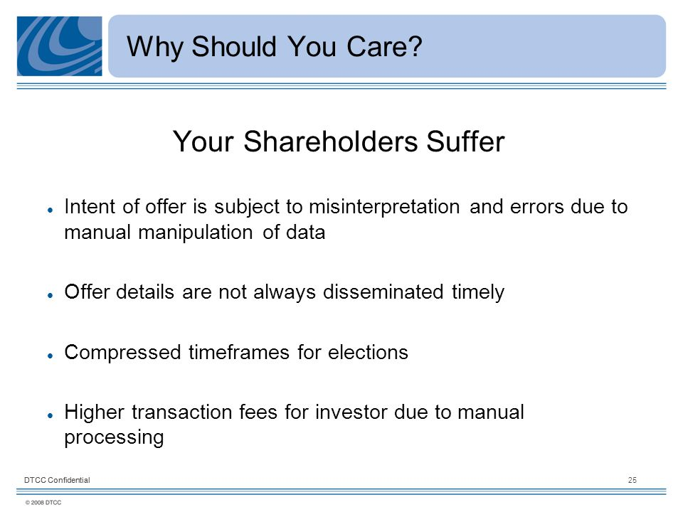 DTCC Confidential25DTCC Confidential Why Should You Care.