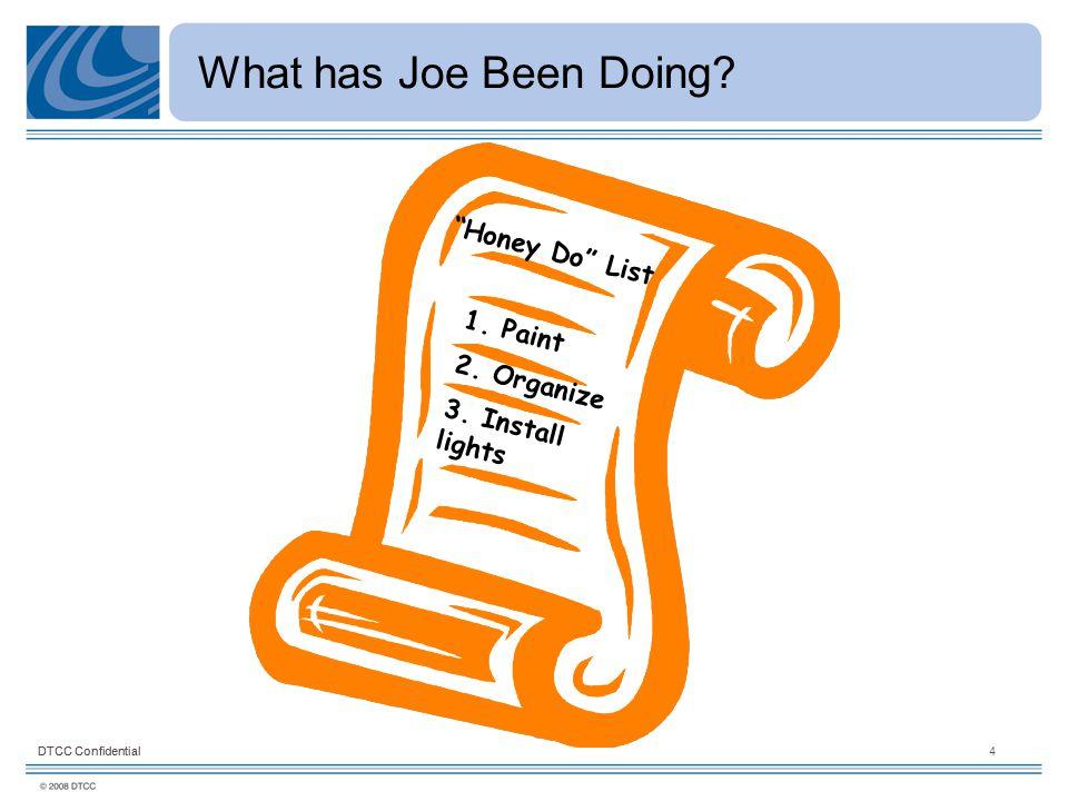 "DTCC Confidential4 What has Joe Been Doing? ""Honey Do"" List 1. Paint 3. Install lights 2. Organize"