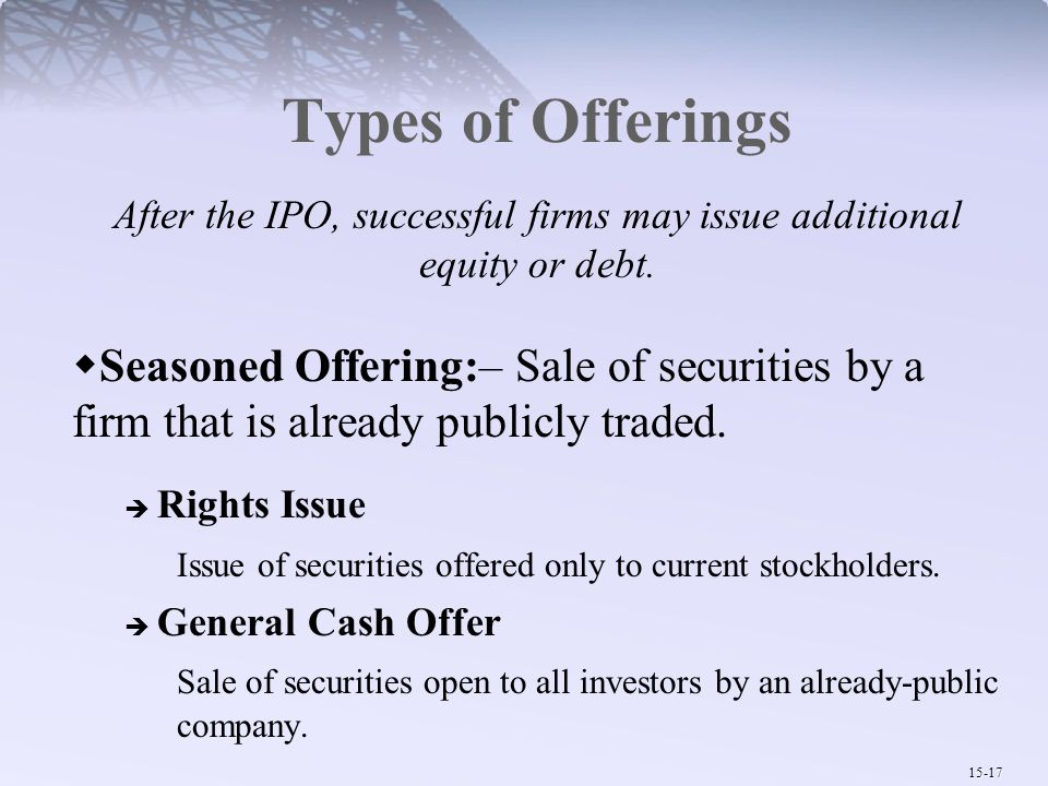 15-17 Types of Offerings After the IPO, successful firms may issue additional equity or debt.  Seasoned Offering:– Sale of securities by a firm that