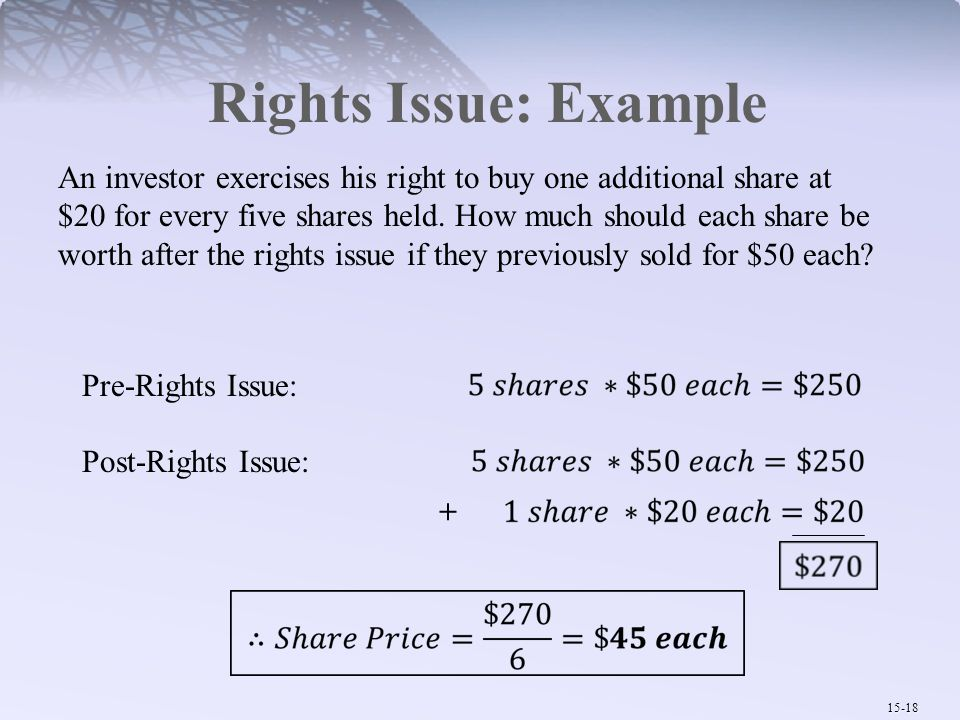 15-18 Rights Issue: Example An investor exercises his right to buy one additional share at $20 for every five shares held. How much should each share