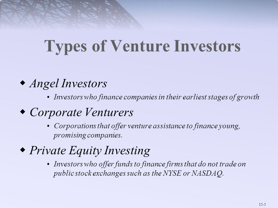 15-5 Types of Venture Investors  Angel Investors Investors who finance companies in their earliest stages of growth  Corporate Venturers Corporation