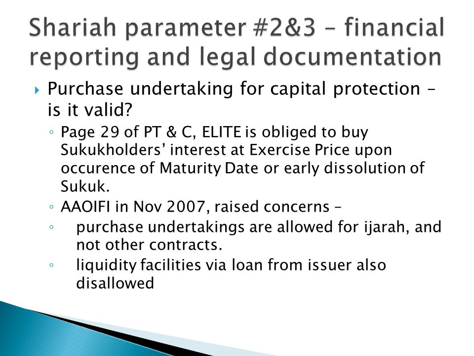  Purchase undertaking for capital protection – is it valid.