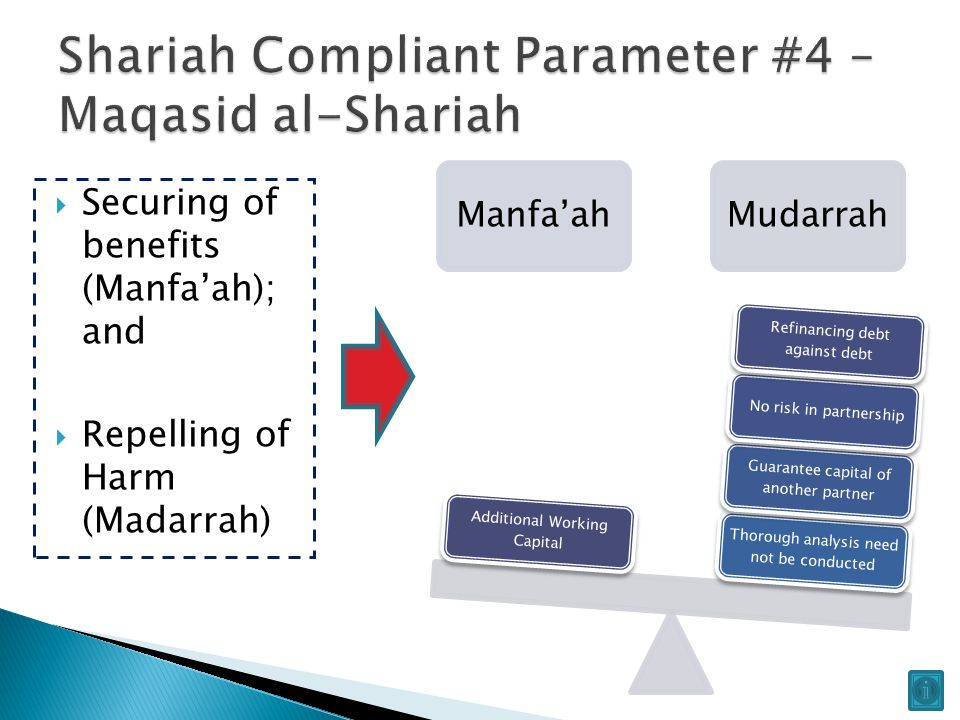 Manfa'ahMudarrah Thorough analysis need not be conducted Guarantee capital of another partner No risk in partnership Refinancing debt against debt Additional Working Capital  Securing of benefits (Manfa'ah); and  Repelling of Harm (Madarrah)