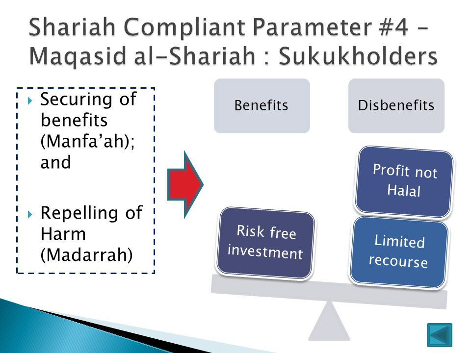 BenefitsDisbenefits Limited recourse Profit not Halal Risk free investment  Securing of benefits (Manfa'ah); and  Repelling of Harm (Madarrah)