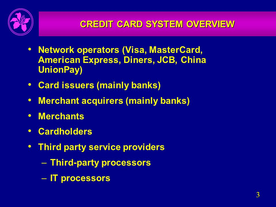 3 CREDIT CARD SYSTEM OVERVIEW Network operators (Visa, MasterCard, American Express, Diners, JCB, China UnionPay) Card issuers (mainly banks) Merchant acquirers (mainly banks) Merchants Cardholders Third party service providers –Third-party processors –IT processors
