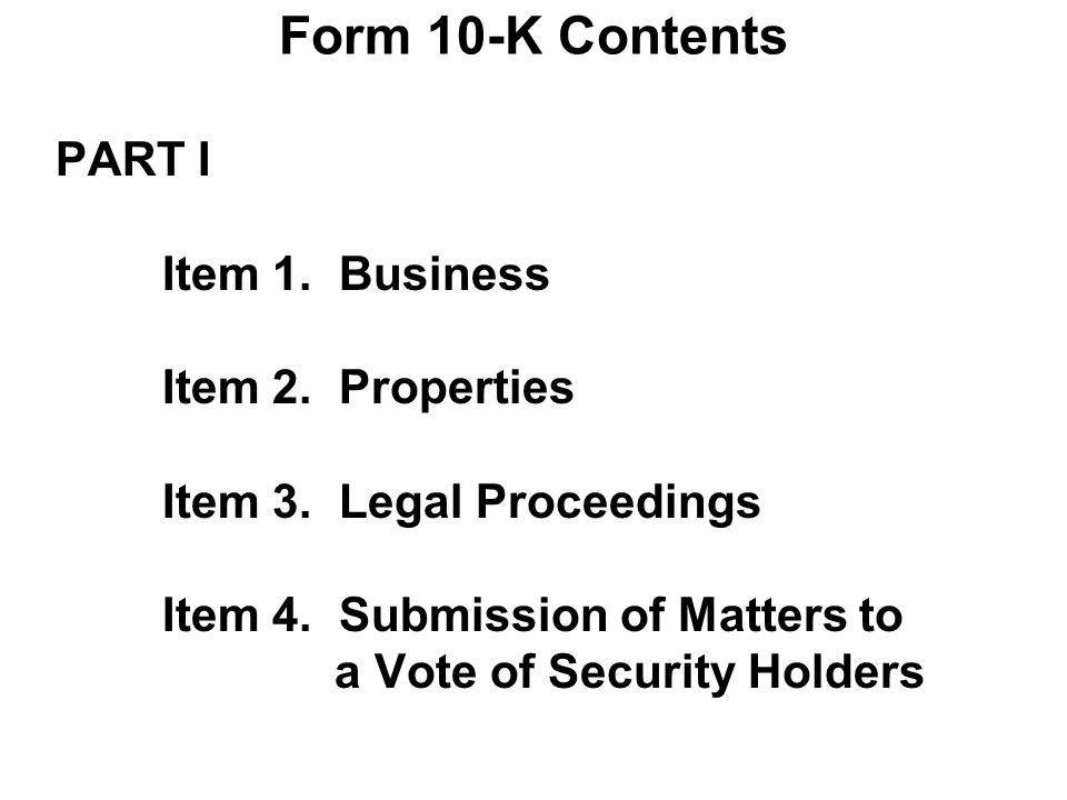 Form 10-K Contents PART I Item 1. Business Item 2.