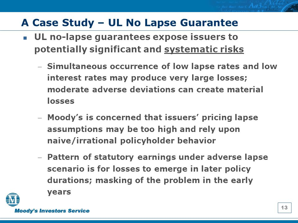 13 A Case Study – UL No Lapse Guarantee UL no-lapse guarantees expose issuers to potentially significant and systematic risks – Simultaneous occurrenc