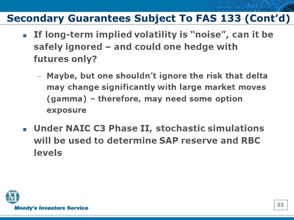 "22 Secondary Guarantees Subject To FAS 133 (Cont'd) If long-term implied volatility is ""noise"", can it be safely ignored – and could one hedge with fu"
