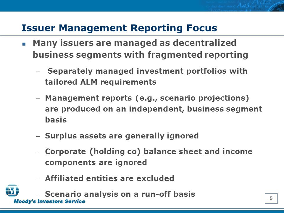 5 Issuer Management Reporting Focus Many issuers are managed as decentralized business segments with fragmented reporting – Separately managed investm