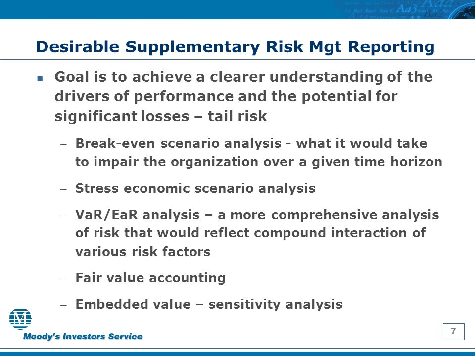 7 Desirable Supplementary Risk Mgt Reporting Goal is to achieve a clearer understanding of the drivers of performance and the potential for significan
