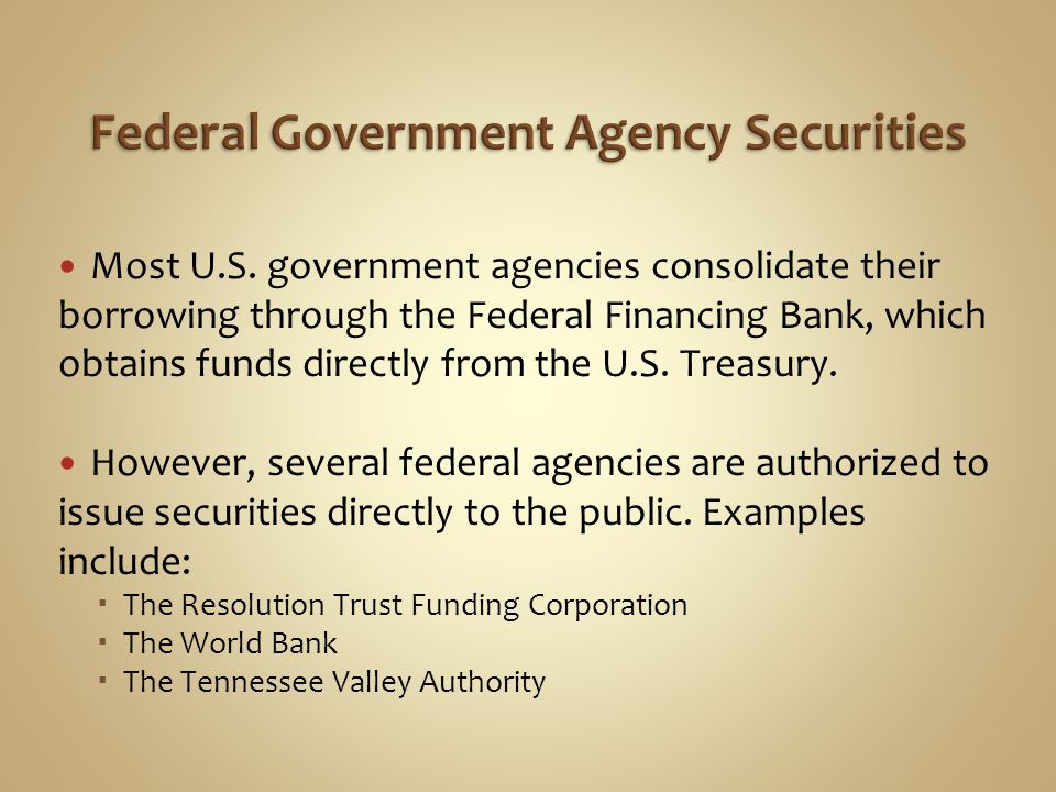 Most U.S. government agencies consolidate their borrowing through the Federal Financing Bank, which obtains funds directly from the U.S. Treasury. How
