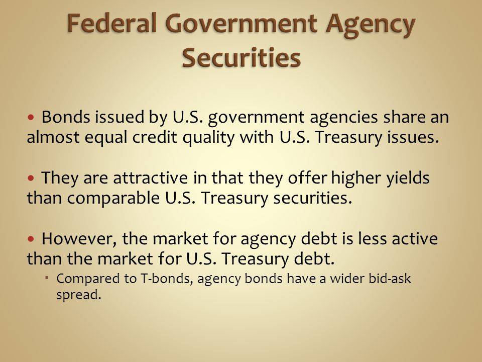 Bonds issued by U.S. government agencies share an almost equal credit quality with U.S. Treasury issues. They are attractive in that they offer higher