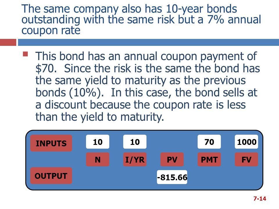 The same company also has 10-year bonds outstanding with the same risk but a 7% annual coupon rate  This bond has an annual coupon payment of $70. Si