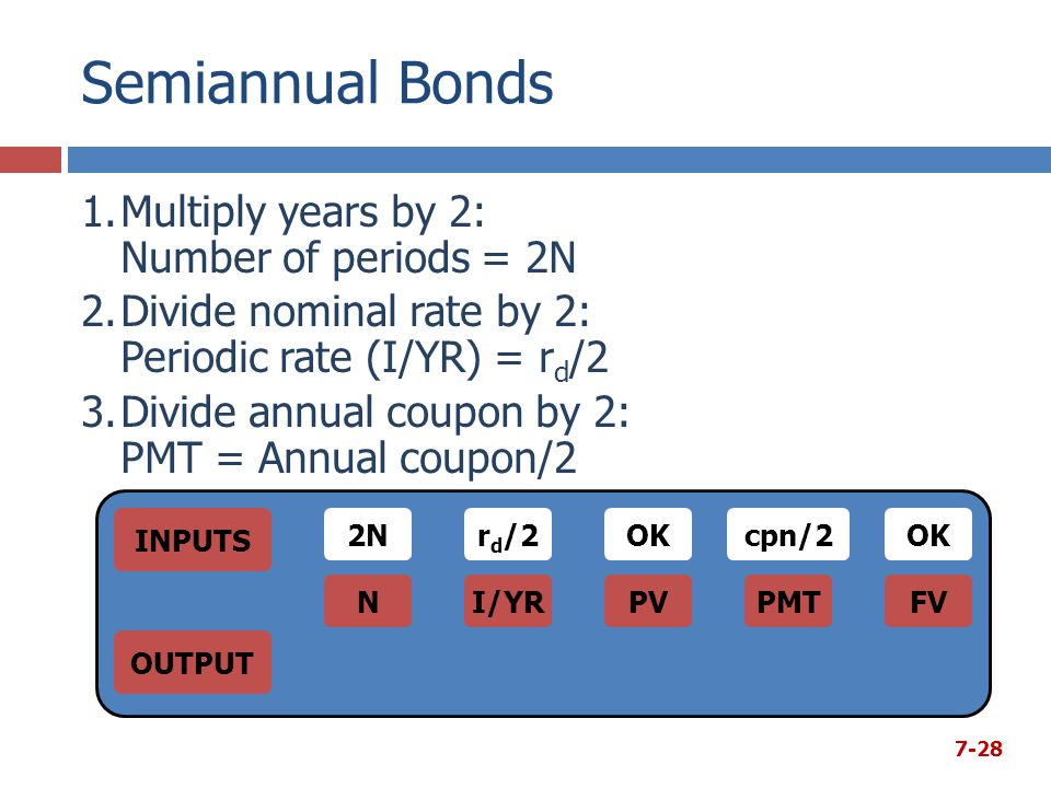 Semiannual Bonds 1.Multiply years by 2: Number of periods = 2N 2.Divide nominal rate by 2: Periodic rate (I/YR) = r d /2 3.Divide annual coupon by 2: