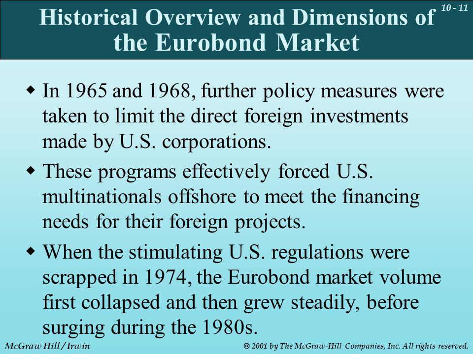 10 - 11 McGraw Hill / Irwin  2001 by The McGraw-Hill Companies, Inc. All rights reserved. Historical Overview and Dimensions of the Eurobond Market 