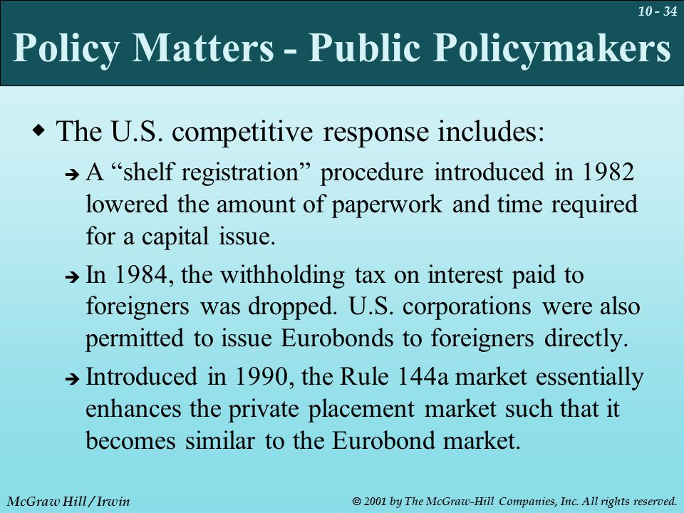 10 - 34 McGraw Hill / Irwin  2001 by The McGraw-Hill Companies, Inc. All rights reserved. Policy Matters - Public Policymakers  The U.S. competitive