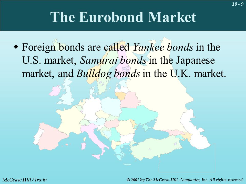 10 - 9 McGraw Hill / Irwin  2001 by The McGraw-Hill Companies, Inc. All rights reserved. The Eurobond Market  Foreign bonds are called Yankee bonds