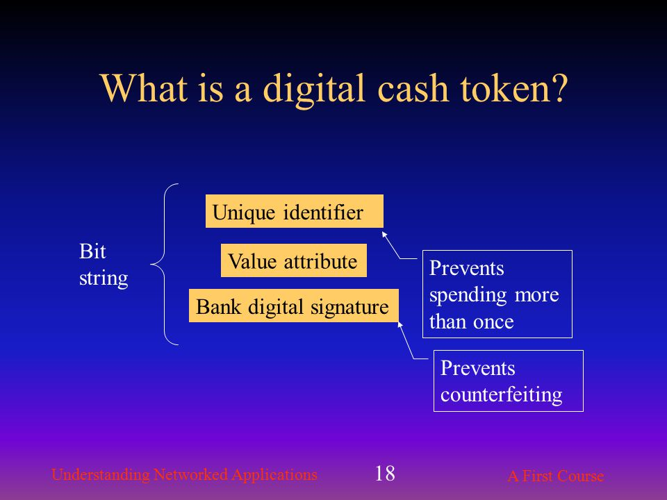 Understanding Networked Applications A First Course 18 What is a digital cash token.