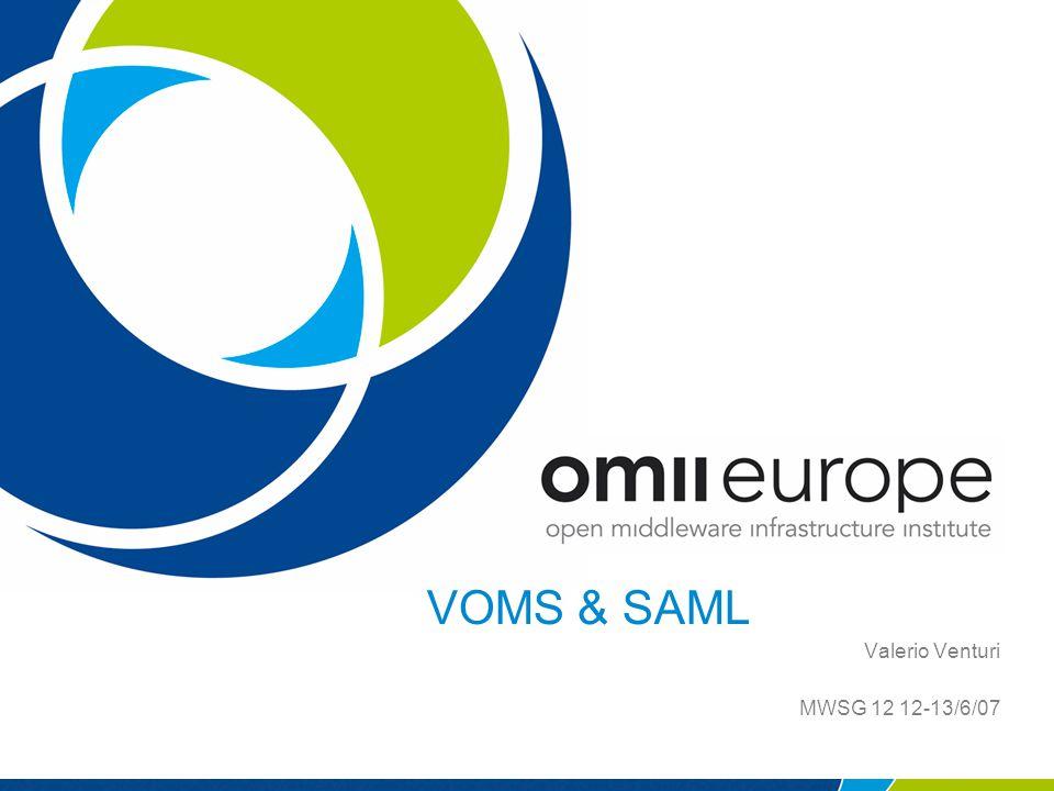 VOMS & SAML Valerio Venturi MWSG 12 12-13/6/07