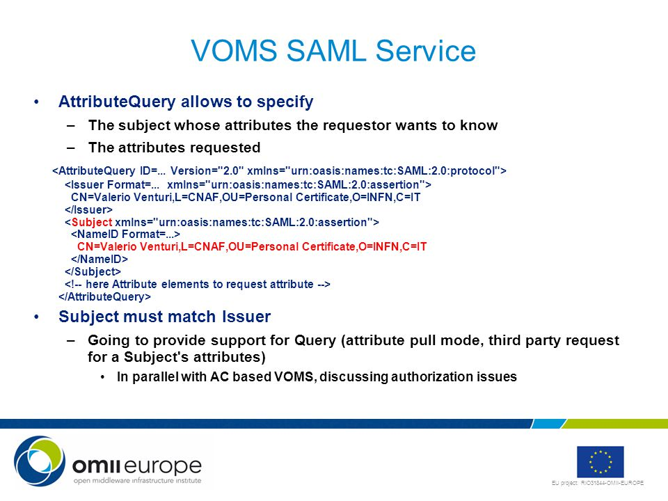 EU project: RIO31844-OMII-EUROPE VOMS SAML Service AttributeQuery allows to specify –The subject whose attributes the requestor wants to know –The attributes requested CN=Valerio Venturi,L=CNAF,OU=Personal Certificate,O=INFN,C=IT CN=Valerio Venturi,L=CNAF,OU=Personal Certificate,O=INFN,C=IT Subject must match Issuer –Going to provide support for Query (attribute pull mode, third party request for a Subject s attributes) In parallel with AC based VOMS, discussing authorization issues
