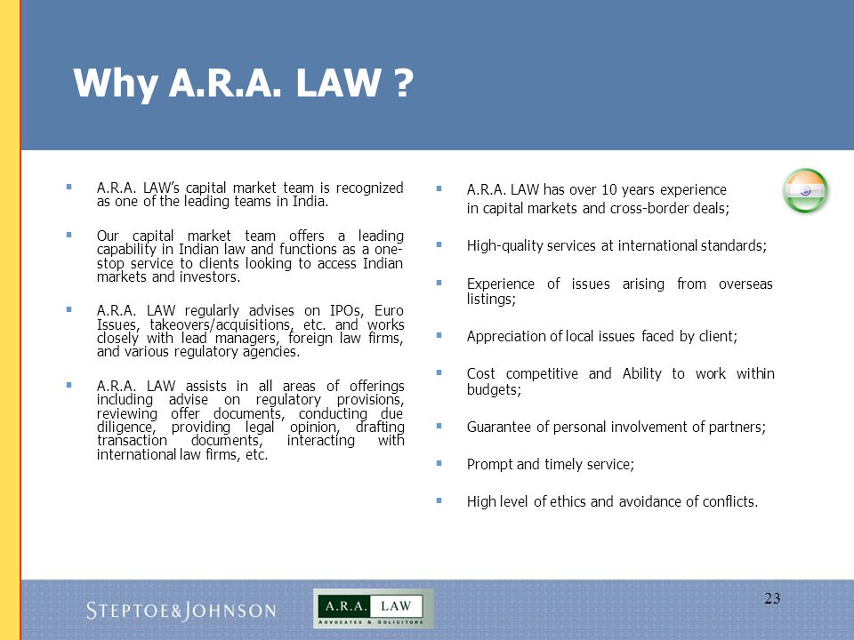 23 Why A.R.A. LAW .  A.R.A.