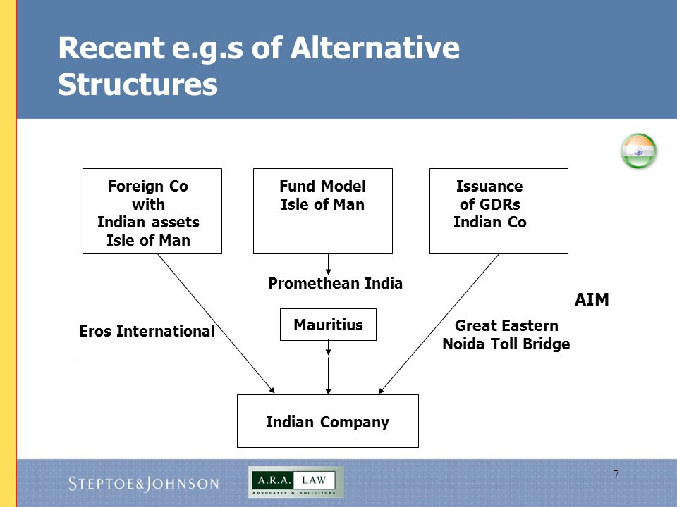 8 Alternative Structures (contd…)  IPO of shares in overseas entity holding Indian assets -applicable in the case of significant overseas presence; international acquisitions; globalisation at early stage; start up businesses not fully valued in India; equity stories with better acceptance overseas i.e.
