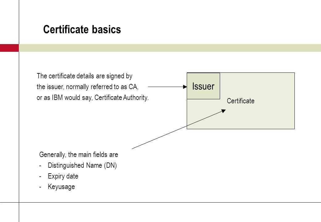 Certificate basics Certificate Issuer The certificate details are signed by the issuer, normally referred to as CA, or as IBM would say, Certificate Authority.