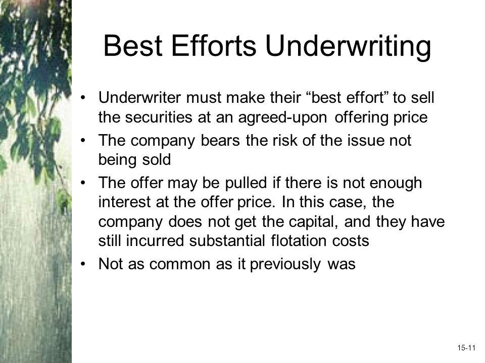 Best Efforts Underwriting Underwriter must make their best effort to sell the securities at an agreed-upon offering price The company bears the risk of the issue not being sold The offer may be pulled if there is not enough interest at the offer price.
