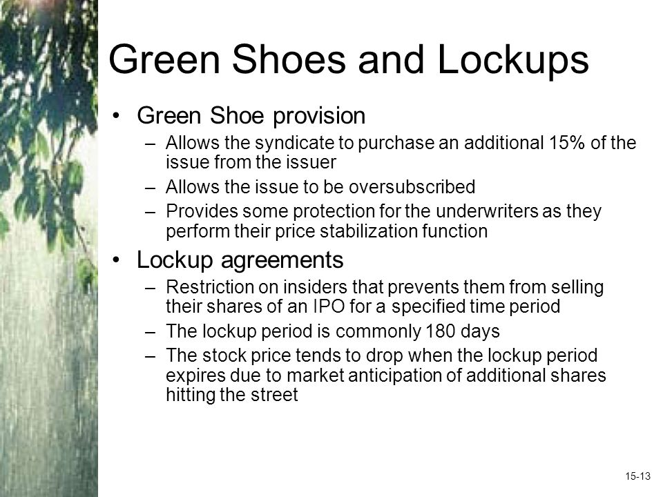 Green Shoes and Lockups Green Shoe provision –Allows the syndicate to purchase an additional 15% of the issue from the issuer –Allows the issue to be oversubscribed –Provides some protection for the underwriters as they perform their price stabilization function Lockup agreements –Restriction on insiders that prevents them from selling their shares of an IPO for a specified time period –The lockup period is commonly 180 days –The stock price tends to drop when the lockup period expires due to market anticipation of additional shares hitting the street 15-13