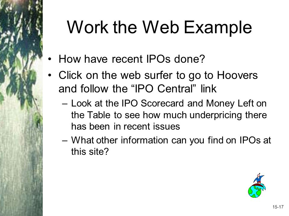 Work the Web Example How have recent IPOs done.