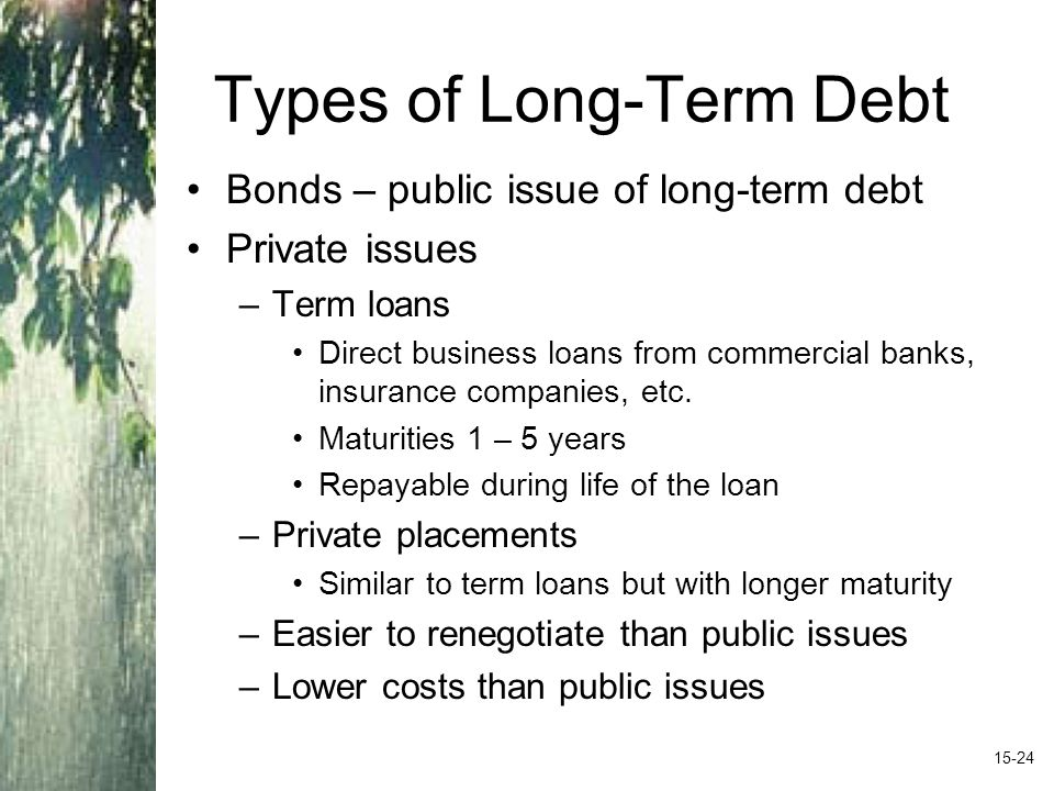 Types of Long-Term Debt Bonds – public issue of long-term debt Private issues –Term loans Direct business loans from commercial banks, insurance companies, etc.