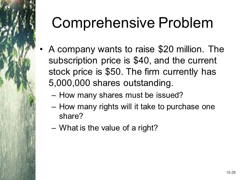 Comprehensive Problem A company wants to raise $20 million. The subscription price is $40, and the current stock price is $50. The firm currently has
